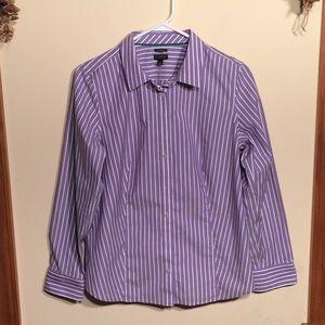 Talbots 12 Ladies Top. Purple/white striped.